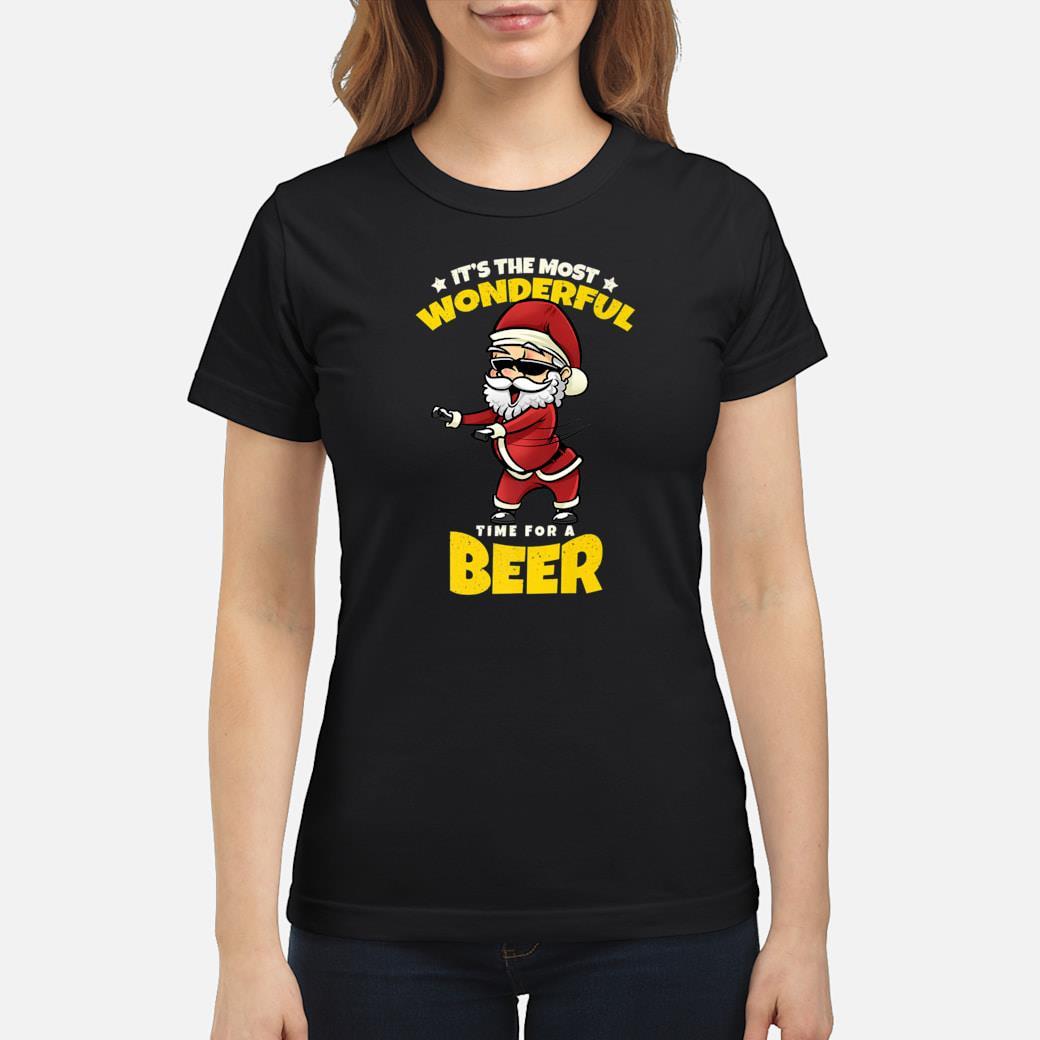 Flossing Santa Claus Most Wonderful Time For Beer Shirt ladies tee