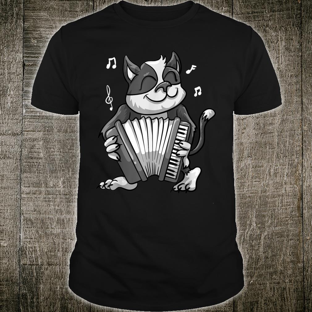 Funny Cat Playing Accordion Cool Musician Harmonium Shirt