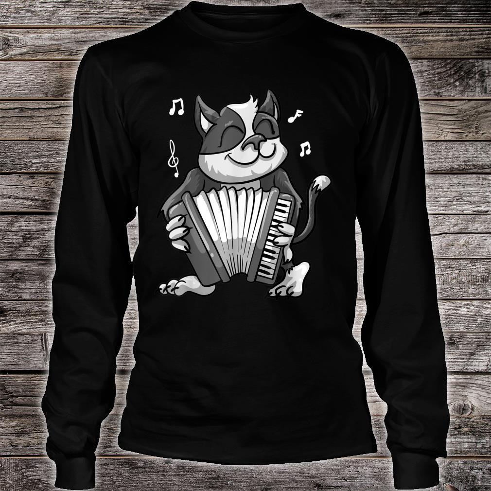 Funny Cat Playing Accordion Cool Musician Harmonium Shirt long sleeved