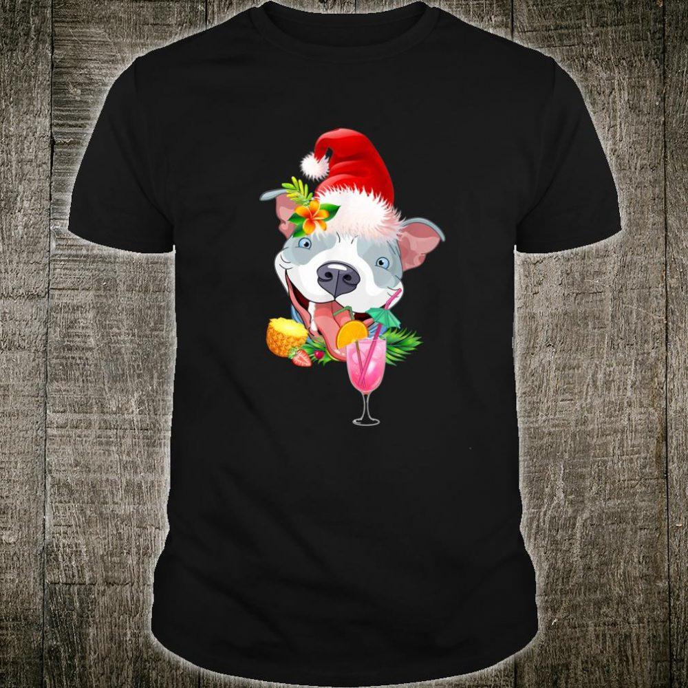 Funny Pit Bull Tropical Christmas Hawaii Shirt