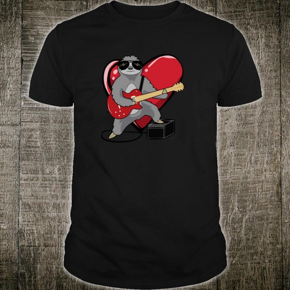 Funny Sloth Playing Guitar Rocker Heavy Metal Slow Jam Heart Shirt