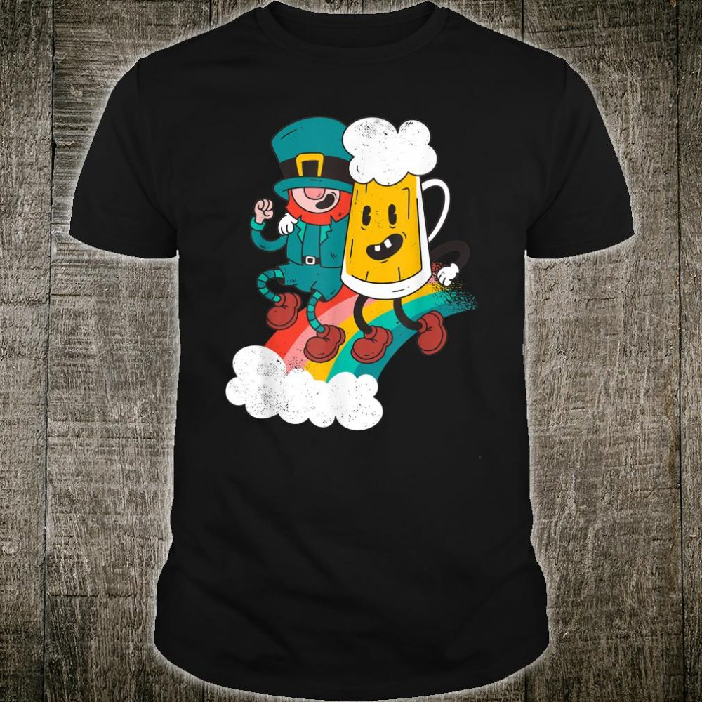 Funny St Paddys Day Leprechaun Dancing with Beer and Rainbow Shirt