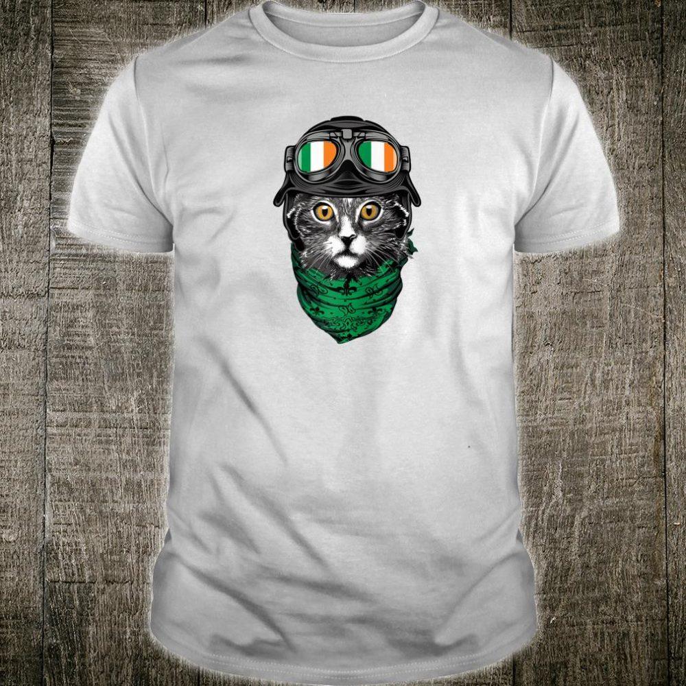 Funny St. Patrick's Day Irish Flag Sunglasses Pilot Cat Shirt