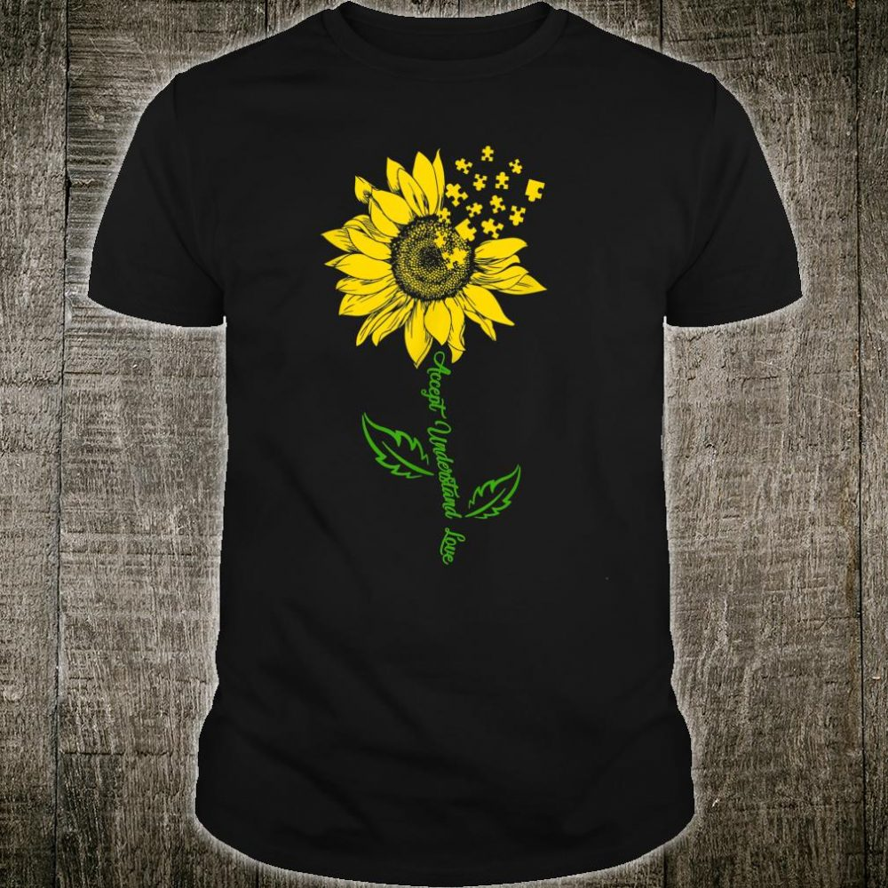 Funny Sunflower Puzzle Piece Pride Autism Awareness Month Shirt