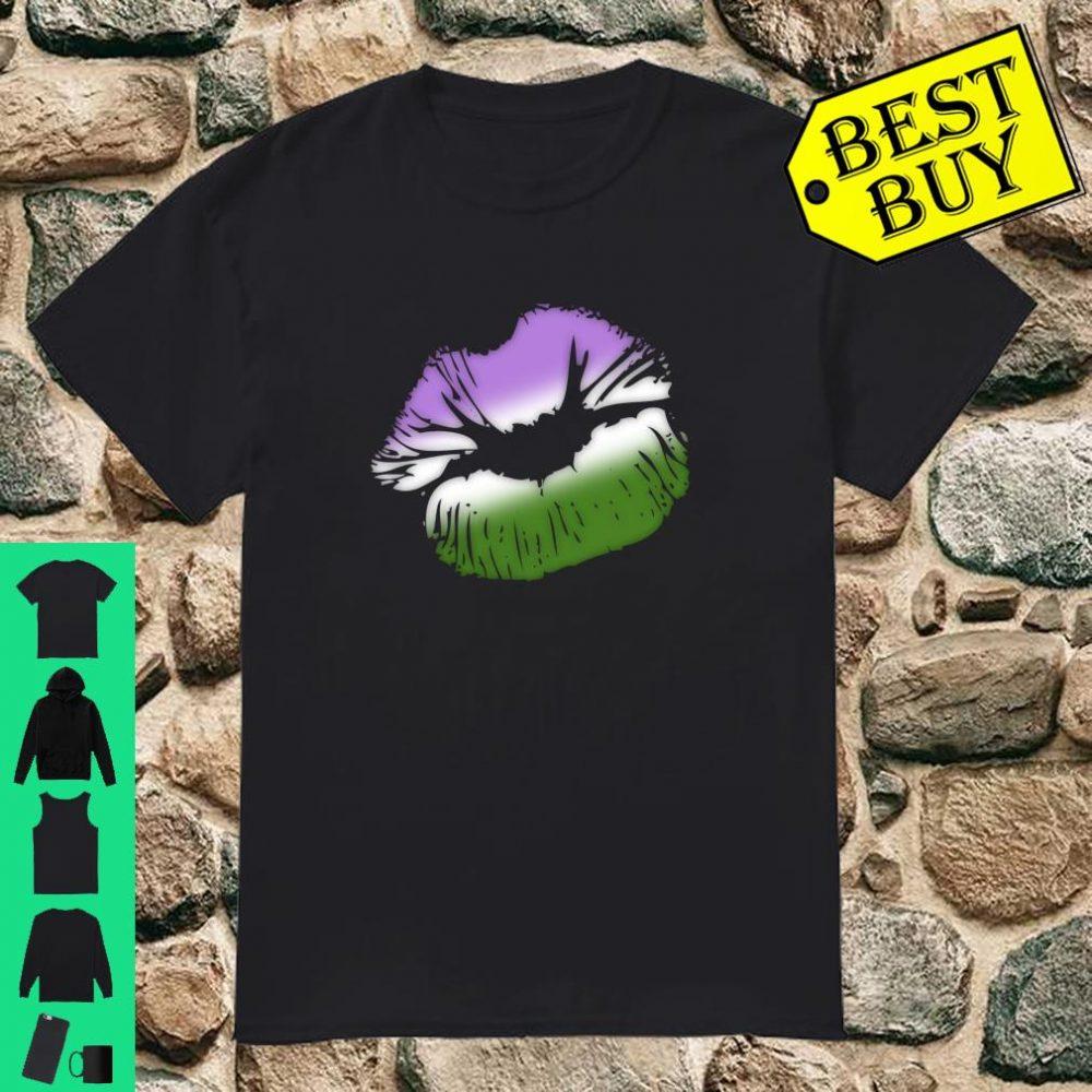 Genderqueer Pride Big Kissing Lips Shirt