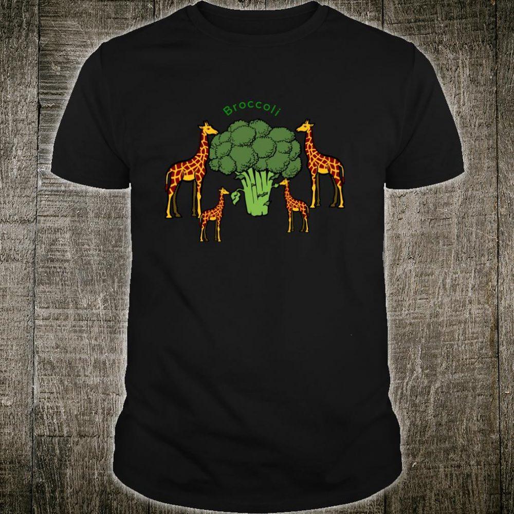 Giraffe Vegetarian Family Eating Broccoli Shirt