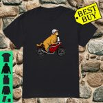 Golden Retriever Dog Riding Motorcycle Goldie Biker Shirt