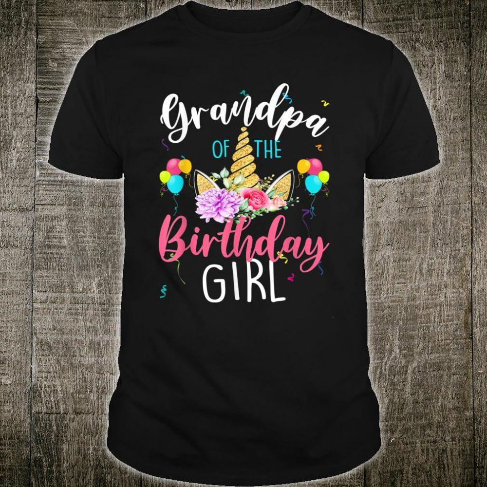 Grandpa Of The Birthday Girl Grandpa Unicorn Birthday Shirt