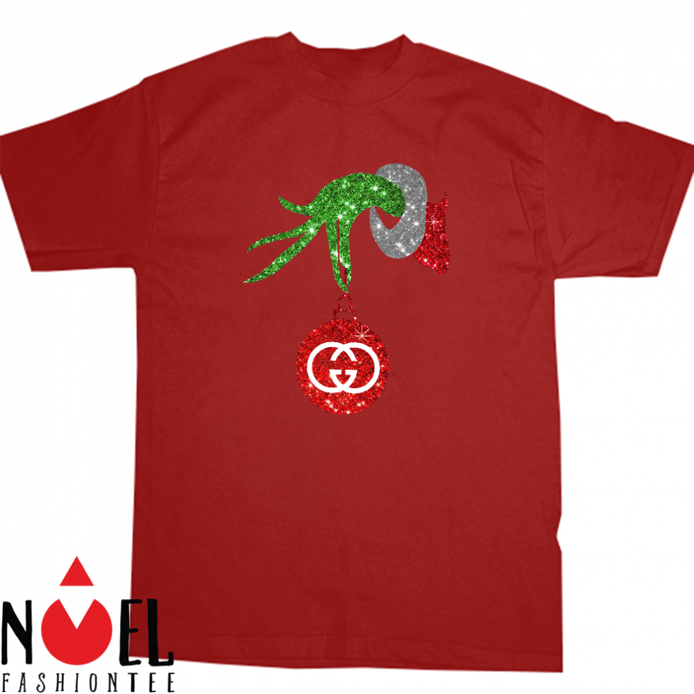 Grinch hand holding Logo Gucci glitter christmas shirt