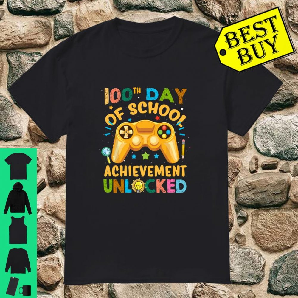 Happy 100 Days 100th Day Of School Boys Video Game Shirt