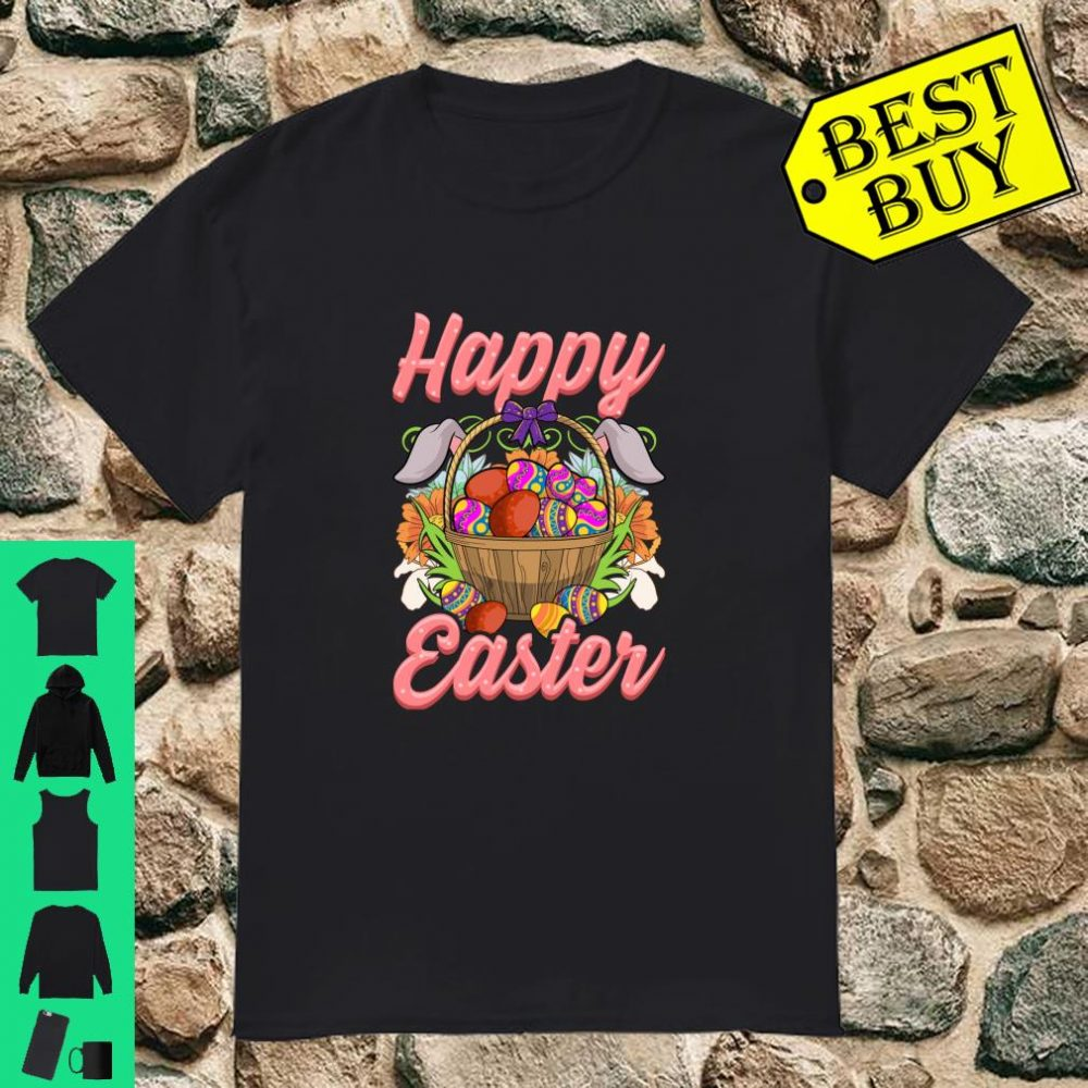 Happy Easter Floral Easter Egg Bunny Ears Costume Girls Shirt