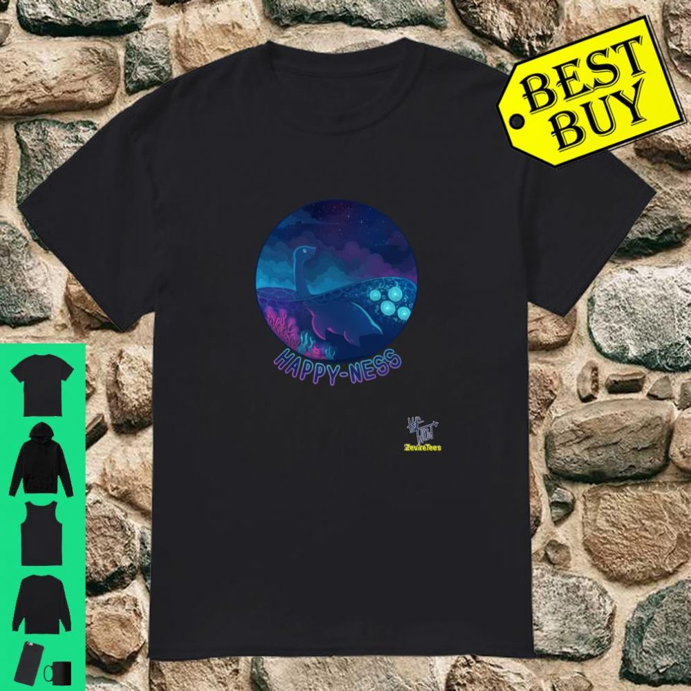 Happy Ness a loch ness monster looking at the stars Shirt