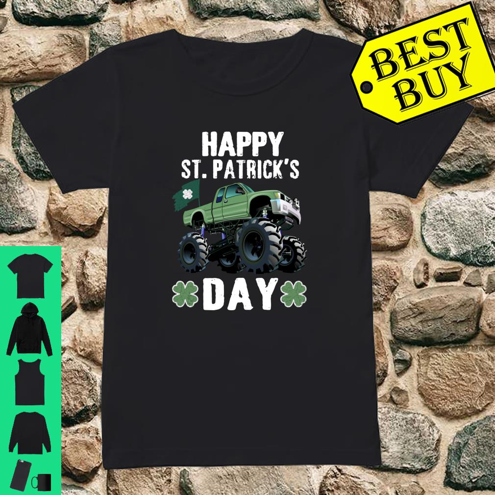Happy St.Patrick's Day Monster Truck Leprechaun Shirt ladies tee
