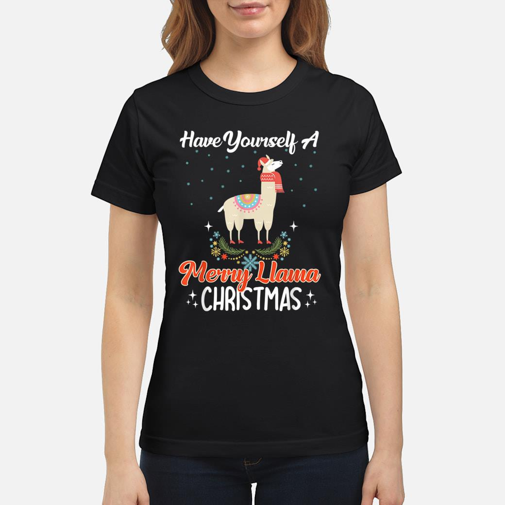 Llama Christmas Shirt.Have Yourself A Merry Llama Christmas Holiday Llama Lovers Shirt