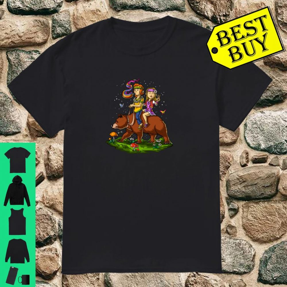 Hippie Stoners On Bear Psychedelic Fantasy Forest Festival Shirt