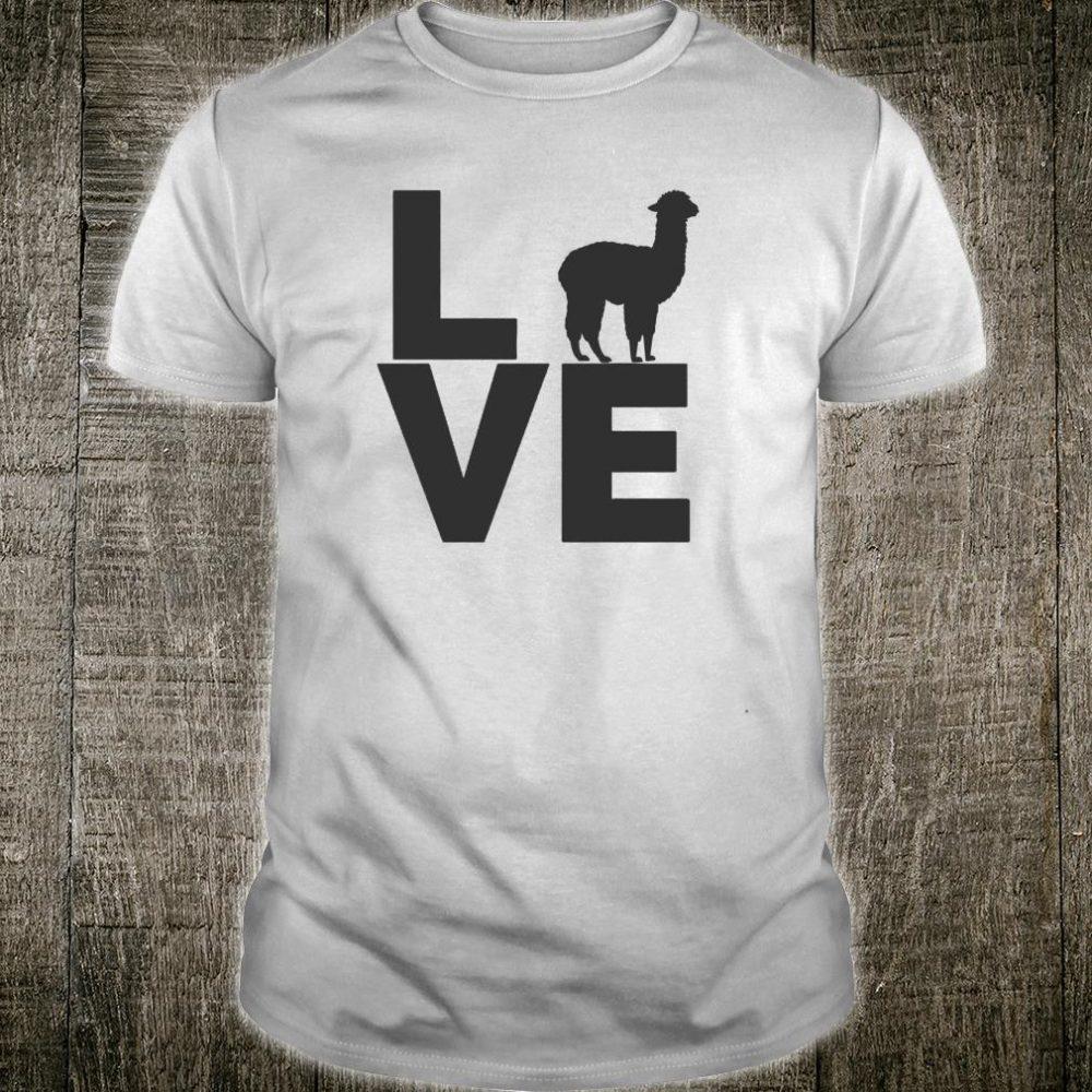 I Love Alpacas Vintage Look Alpaca Black Silhouette Design Shirt