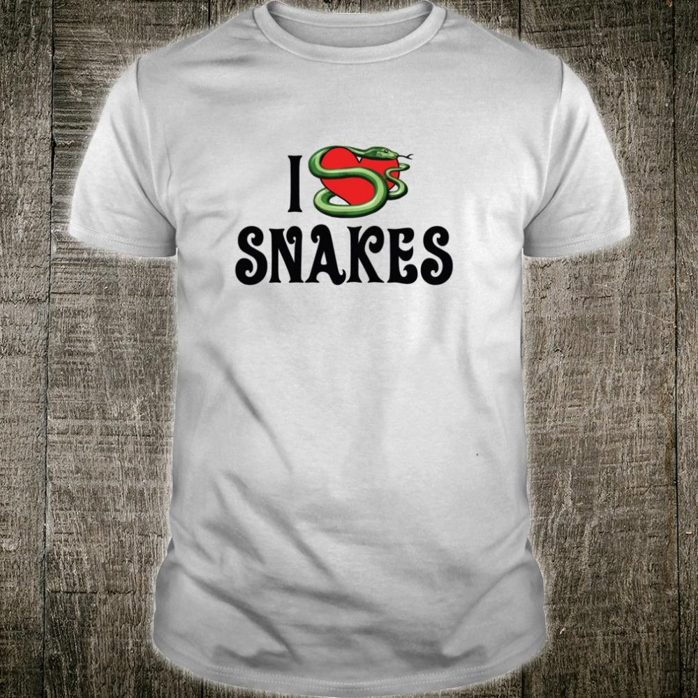 I Love Red Heart Snakes Reptile Lizard Animal Shirt