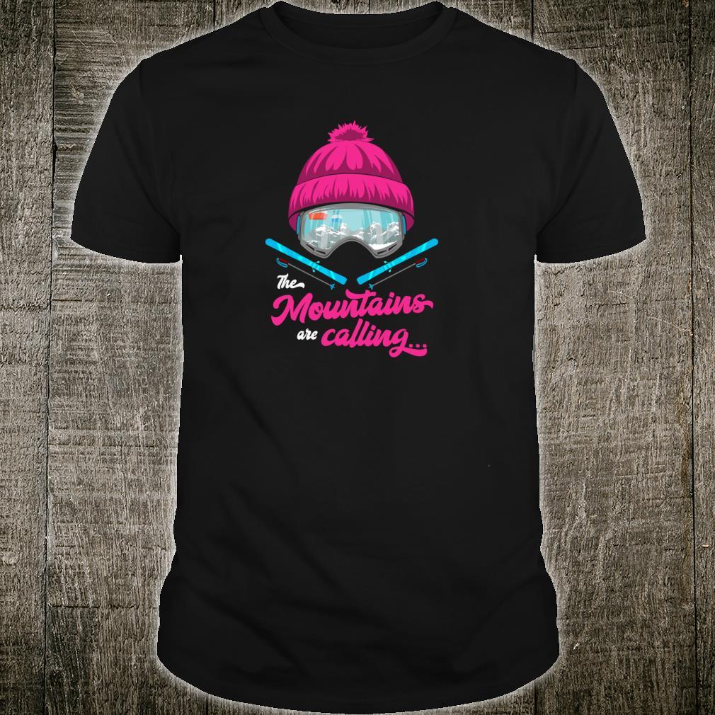 Mountains Are Calling Ski Goggles Skier Apres Ski Ladies Shirt