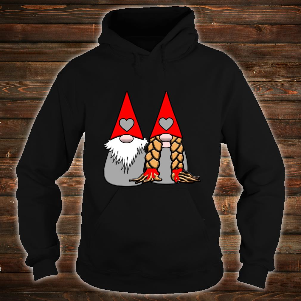 Nordic Gnomes Red Grey Couple Hearts Love Shirt hoodie