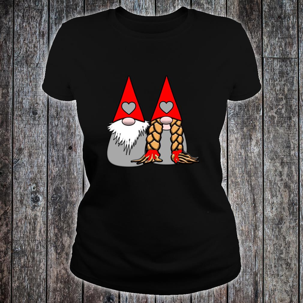 Nordic Gnomes Red Grey Couple Hearts Love Shirt ladies tee