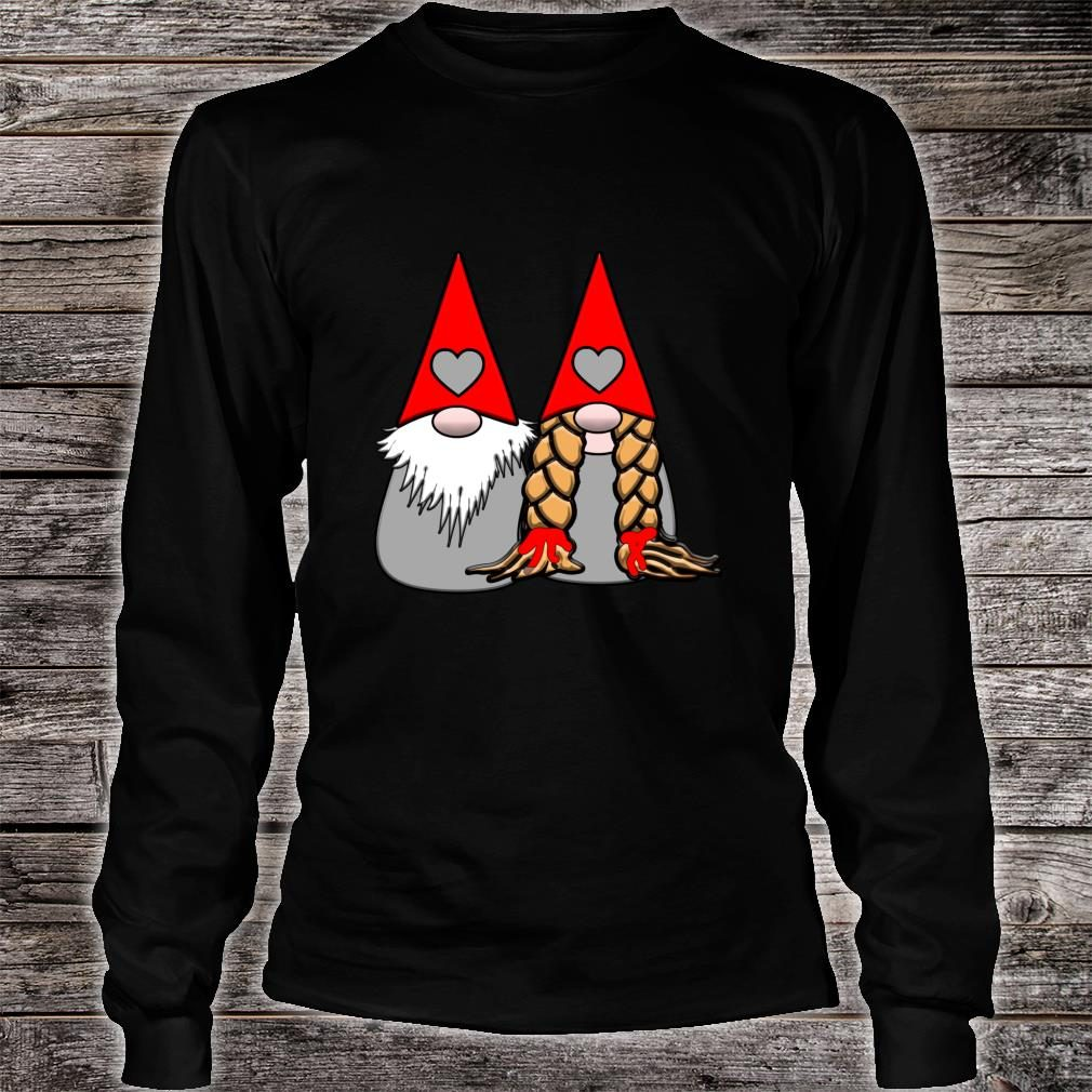 Nordic Gnomes Red Grey Couple Hearts Love Shirt long sleeved