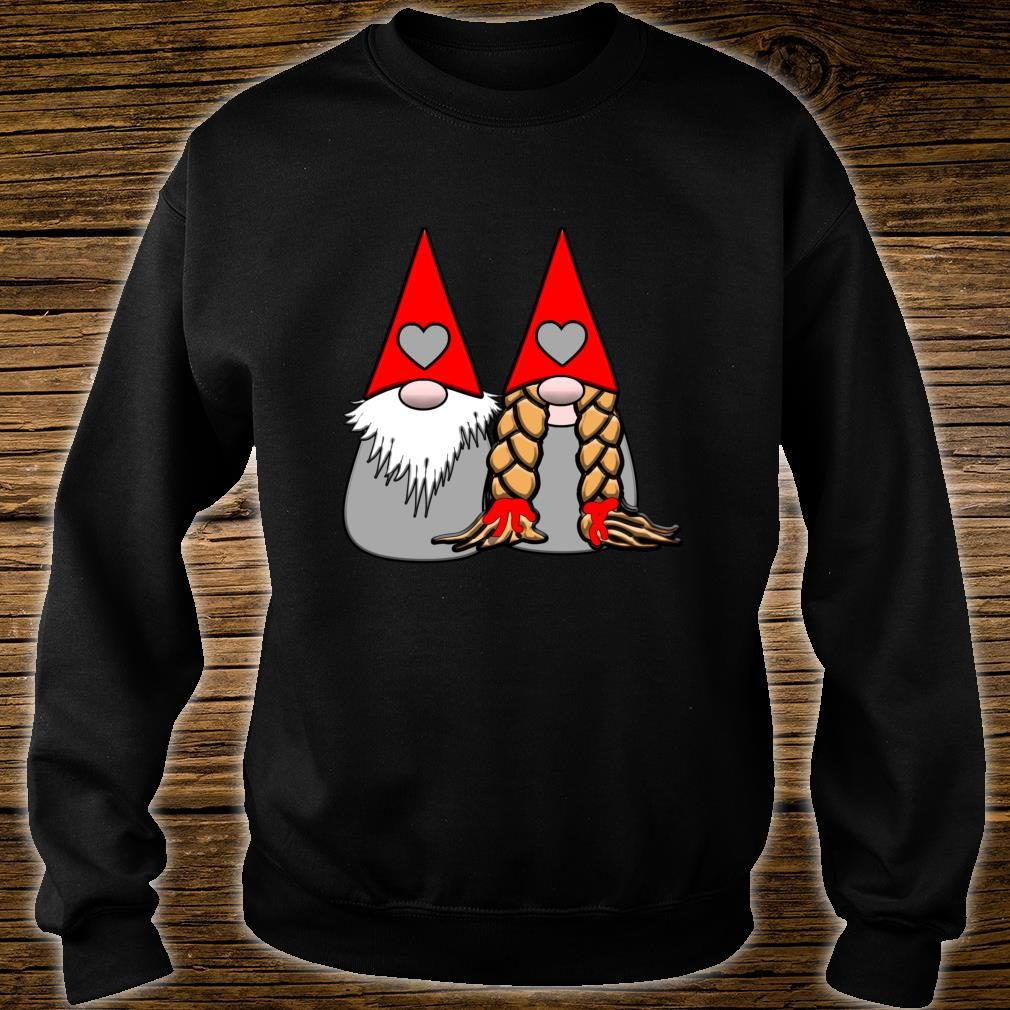 Nordic Gnomes Red Grey Couple Hearts Love Shirt sweater