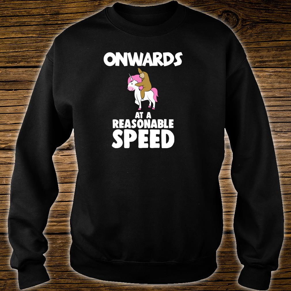 Onwards at a Reasonable Speed Sloth Riding a Unicorn Shirt sweater
