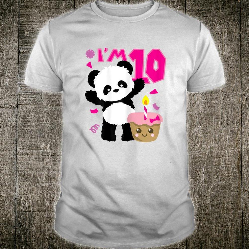 Panda mit Kawaii Kuchen 10 Jahre alte Mädchen Geburtstag Shirt