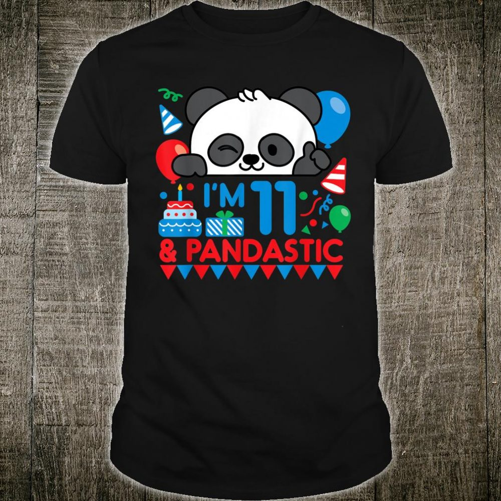 Panda with Balloon 11 Years Old Boys Birthday Party Shirt