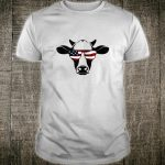 Patriotic American Cow Flag Glasses Farm Rodeo Shirt