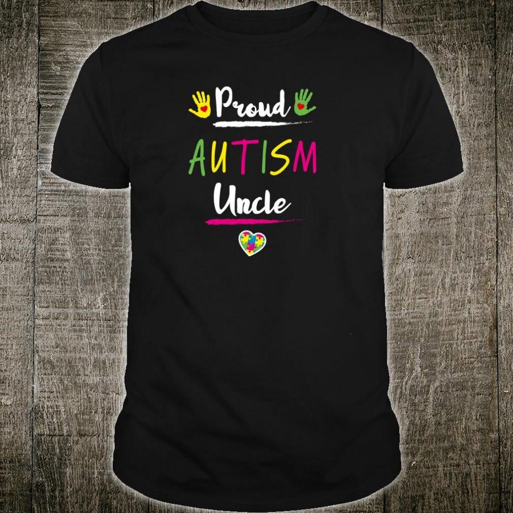 Proud Autism Uncle Autism Awareness Day Puzzle Heart Shirt