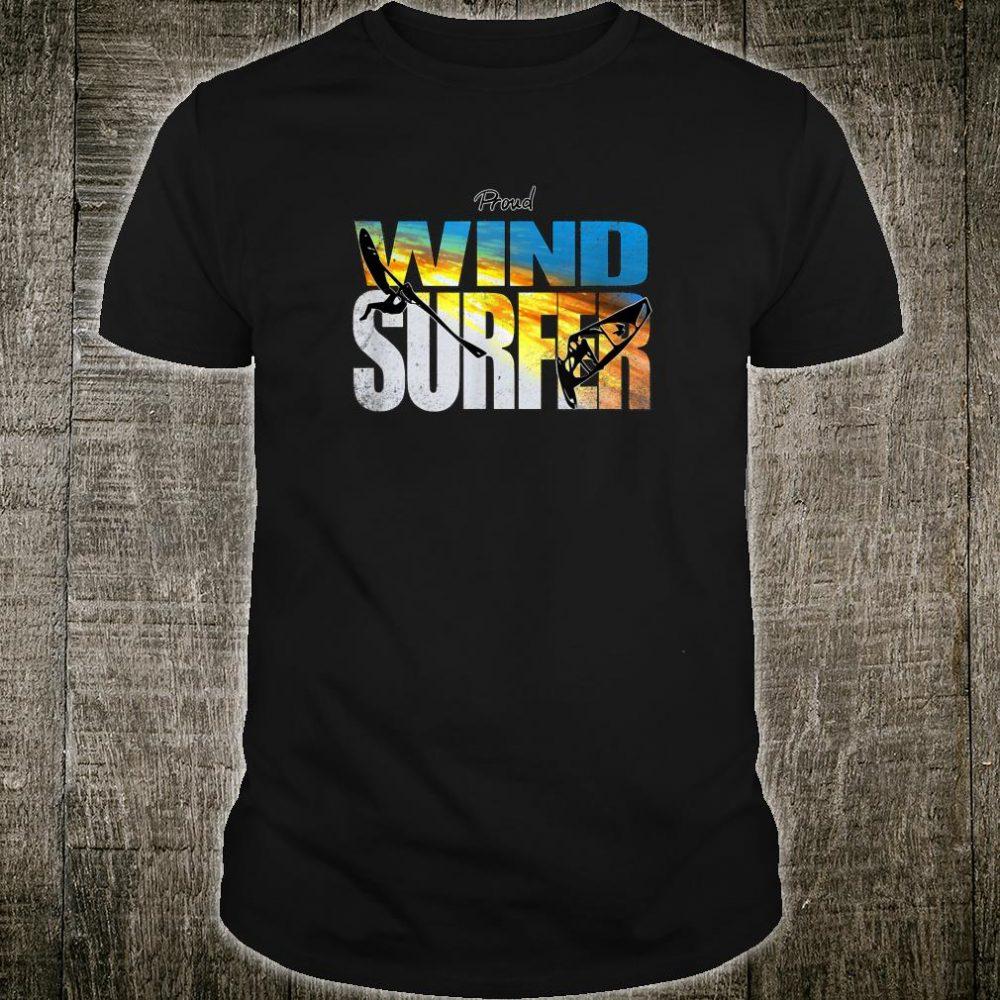 Proud Windsurfer Jumping Sunset Colors over Ocean Waves Shirt