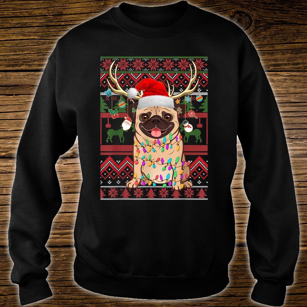 Pug Reindeer Christmas Light Ugly Sweater shirt