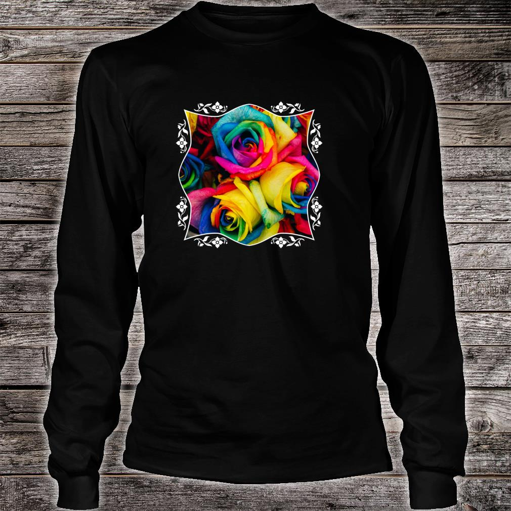 Rainbow Roses Colorful Pink Purple Blue Yellow Flower Pride Shirt long sleeved