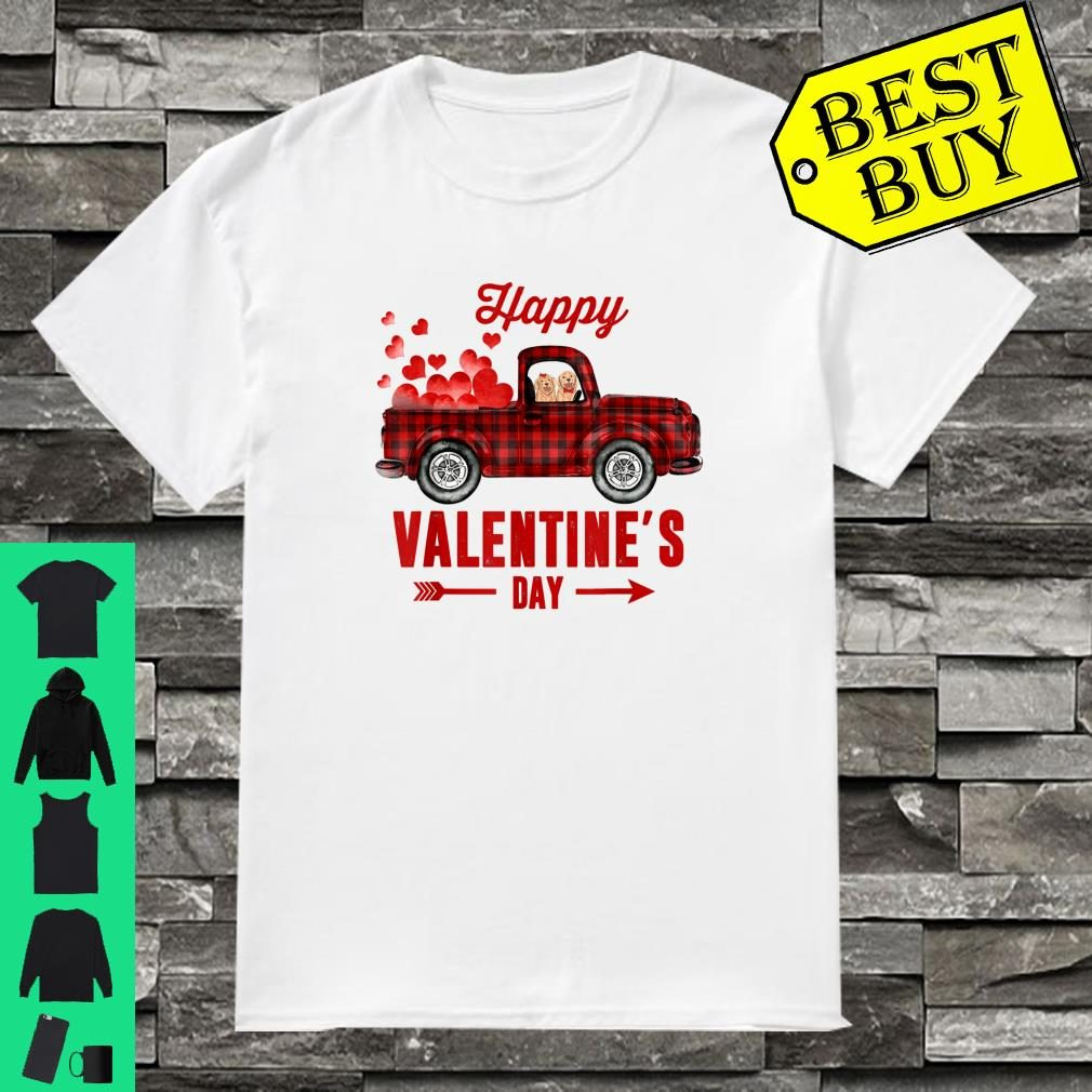 Red Plaid Couple Dog Riding Truck Happy Valentine's Day Gift Shirt