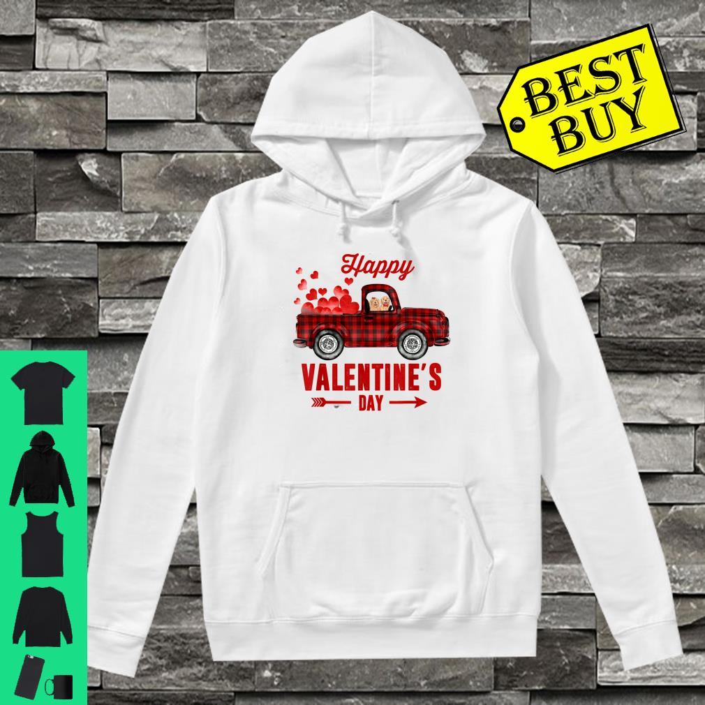 Red Plaid Couple Dog Riding Truck Happy Valentine's Day Gift Shirt hoodie