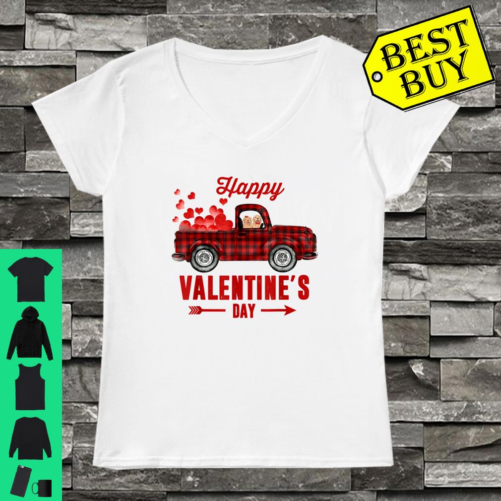 Red Plaid Couple Dog Riding Truck Happy Valentine's Day Gift Shirt ladies tee