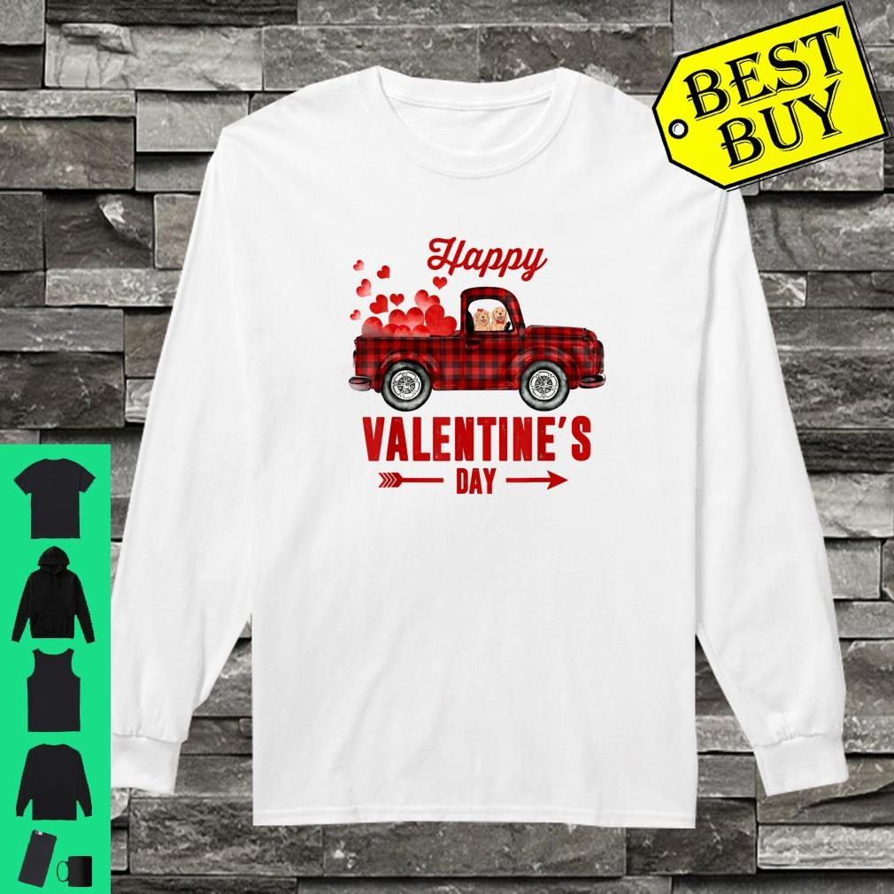 Red Plaid Couple Dog Riding Truck Happy Valentine's Day Gift Shirt long sleeved
