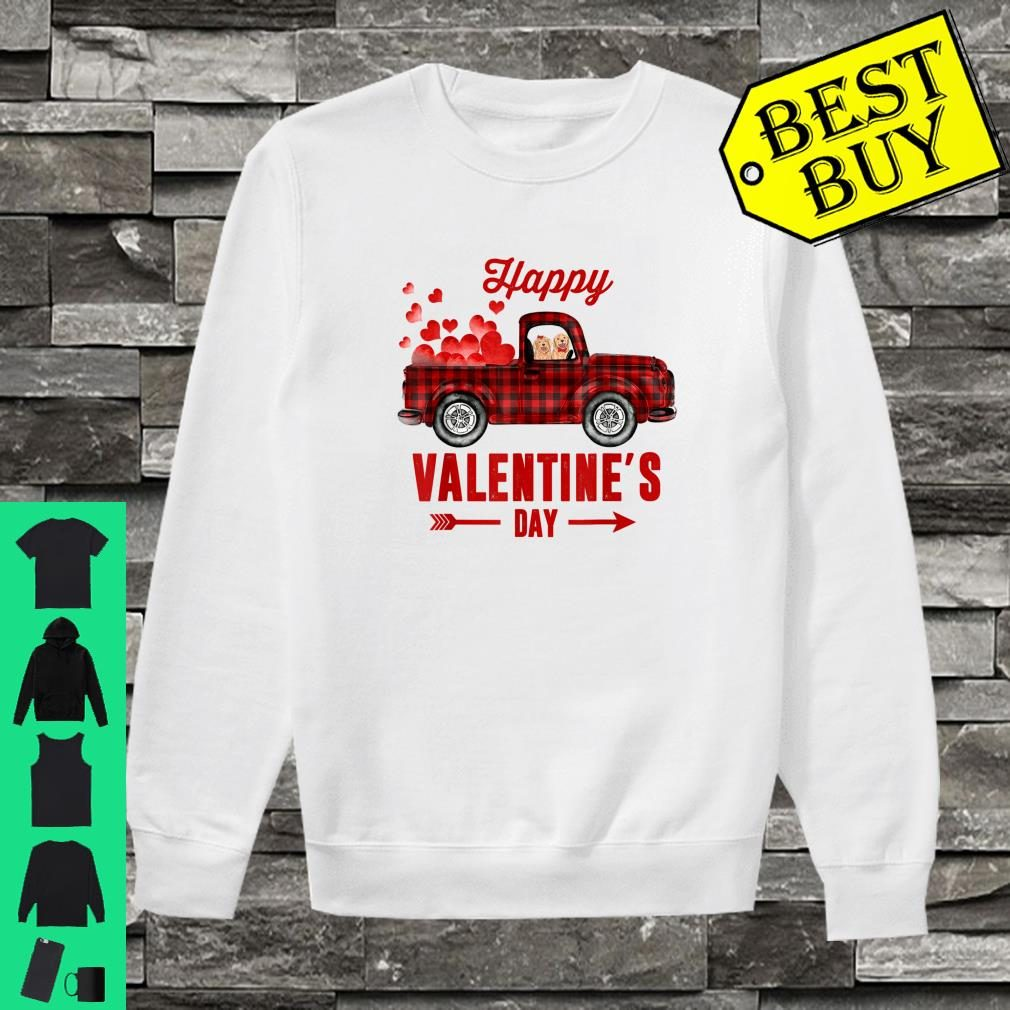 Red Plaid Couple Dog Riding Truck Happy Valentine's Day Gift Shirt sweater
