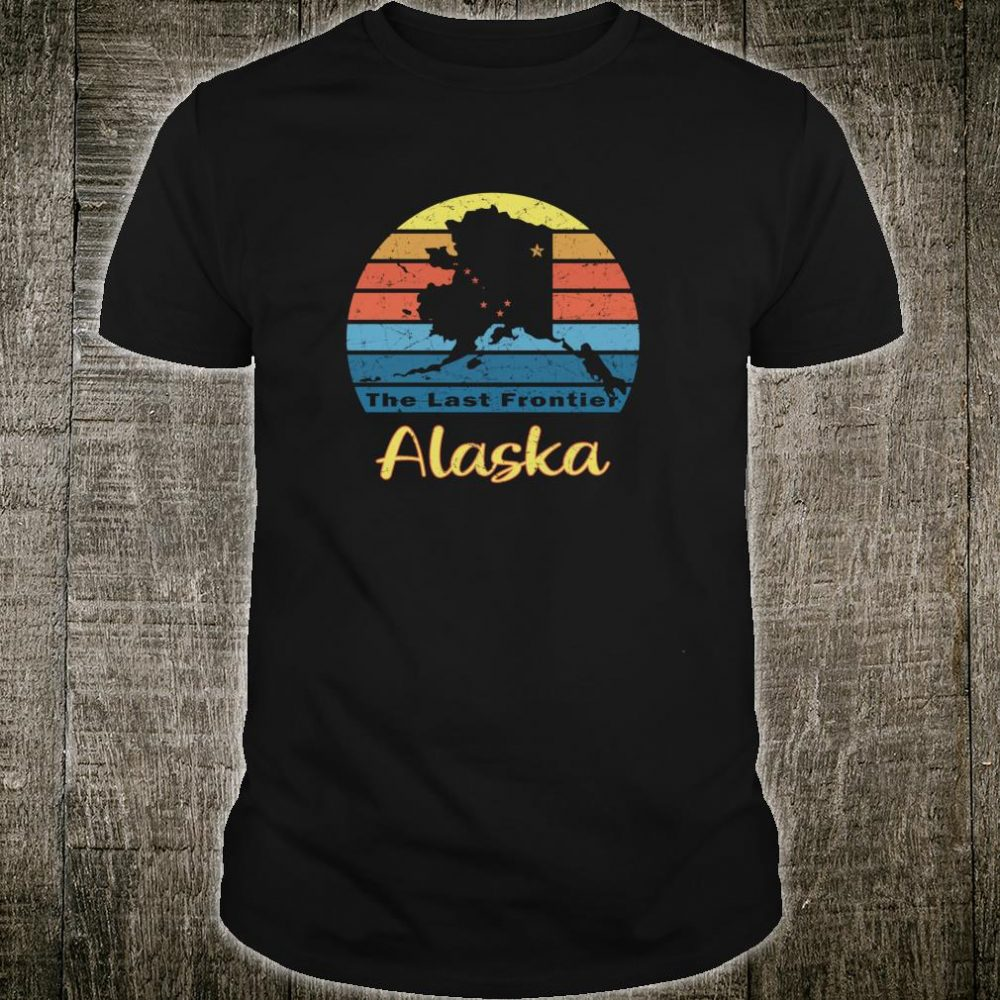 Retro Alaska with State Map and Last Frontier Logo Shirt