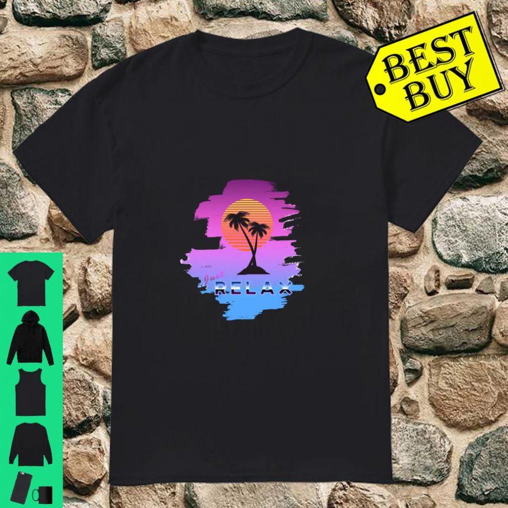 Retro, Cool Just Relax 80s Sunset Palm Tree Beach shirt