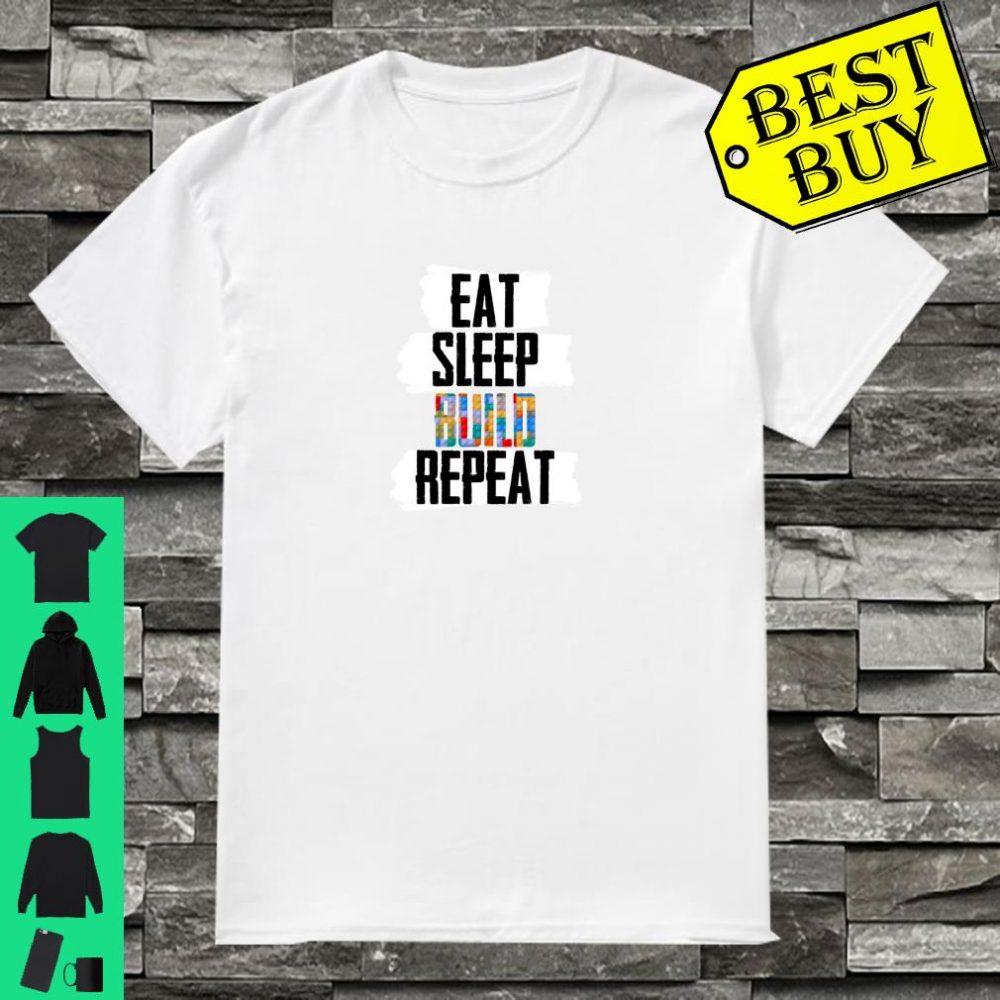 Retro Eat Sleep Build Repeat Novelty Vintage Great Gift Shirt