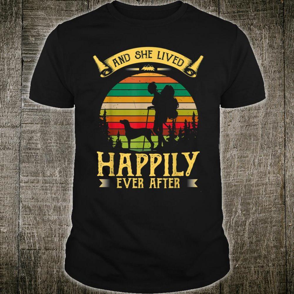 Retro Hiking Dog VIZSLA And She Lived Happily Ever After Shirt