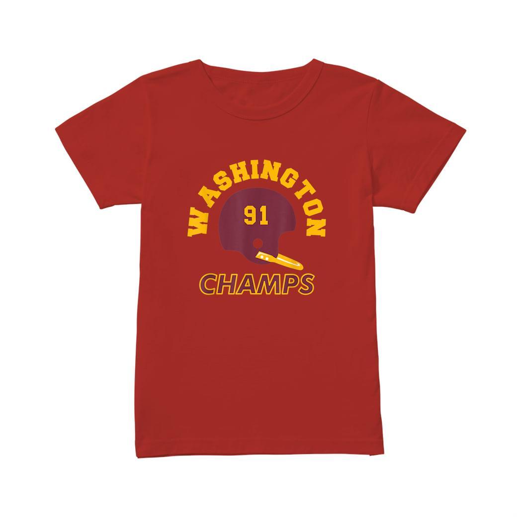 Retro Washington Football Helmet Vintage DC 91 Champs Shirt ladies tee