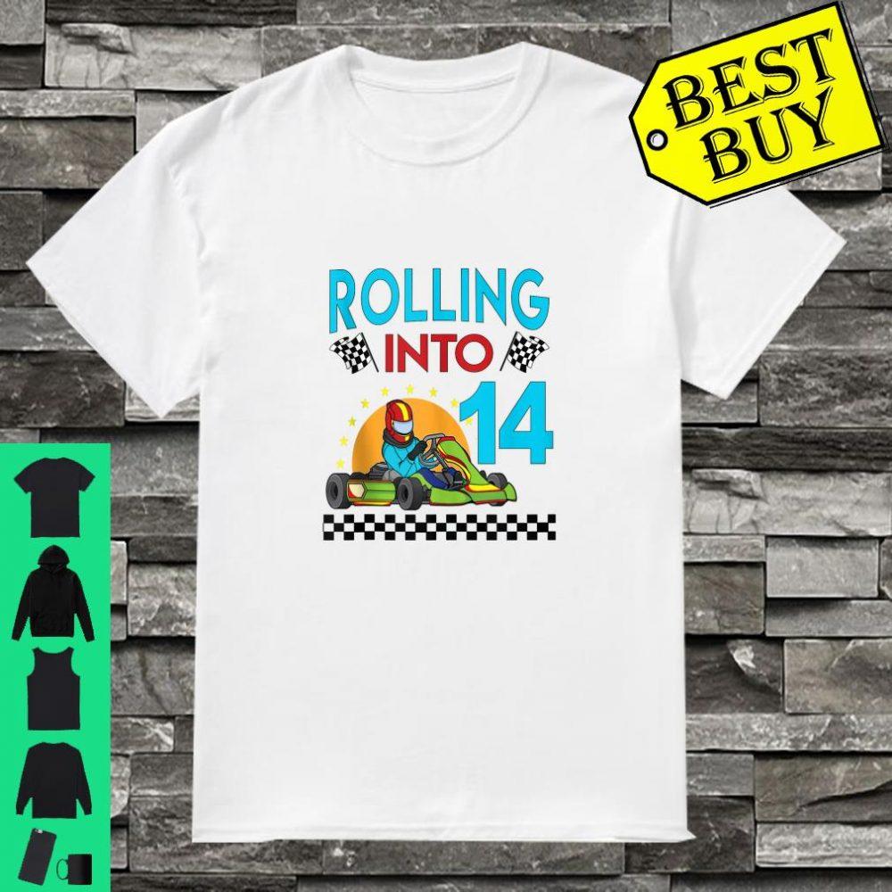 Rolling into 14 Go Kart Racing GoKart 14th Birthday Racing Shirt