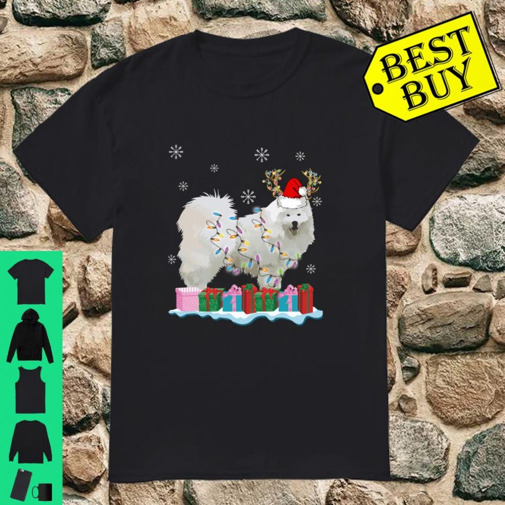 Samoyed Santa Hat Xmas Lights Christmas Gift Dog shirt