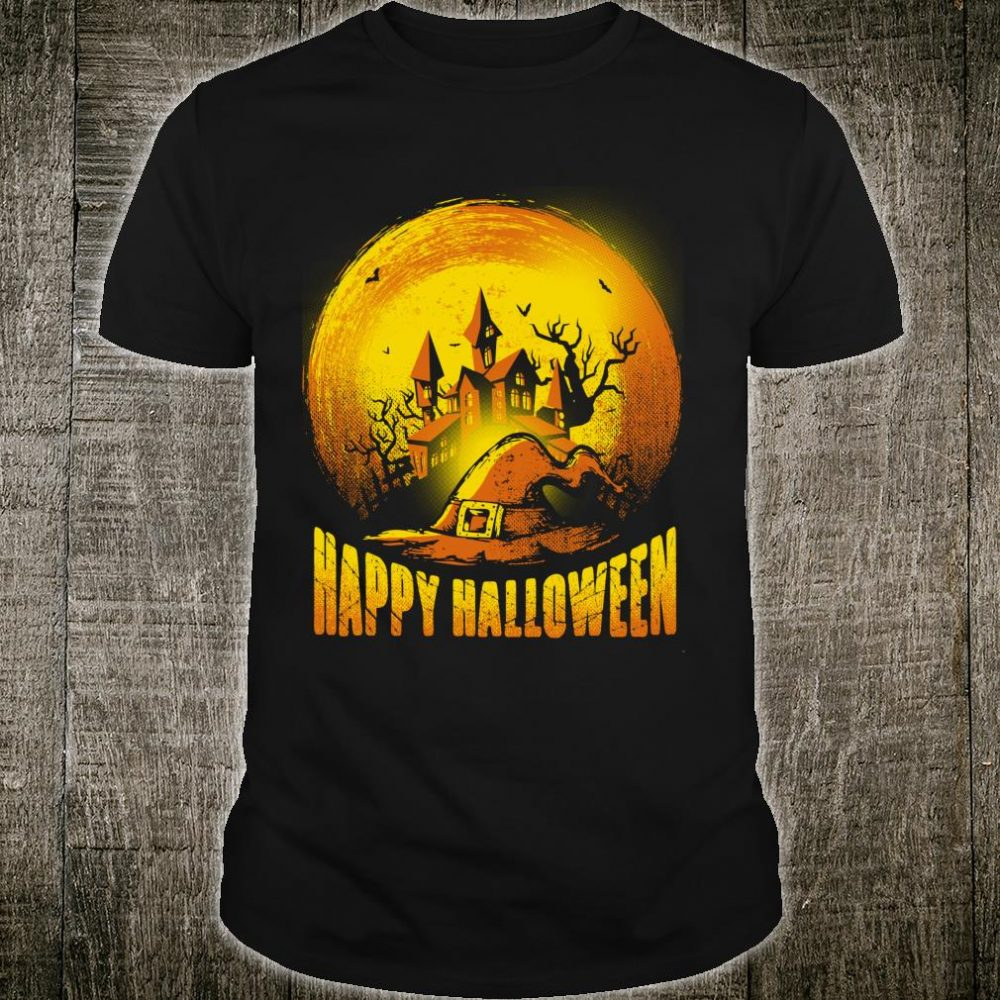 Scary HALLOWEEN Art Haunted House Full Moon Design Shirt