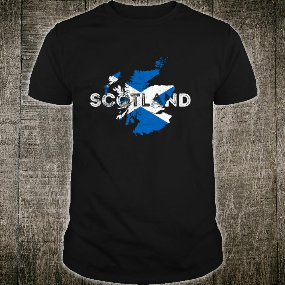 Scottish Map and Flag Souvenir Distressed Scotland Shirt