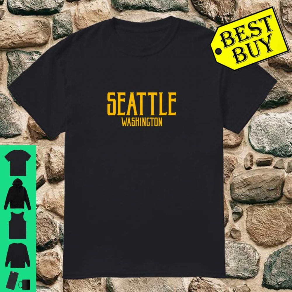 Seattle Vintage Text Amber Print Shirt