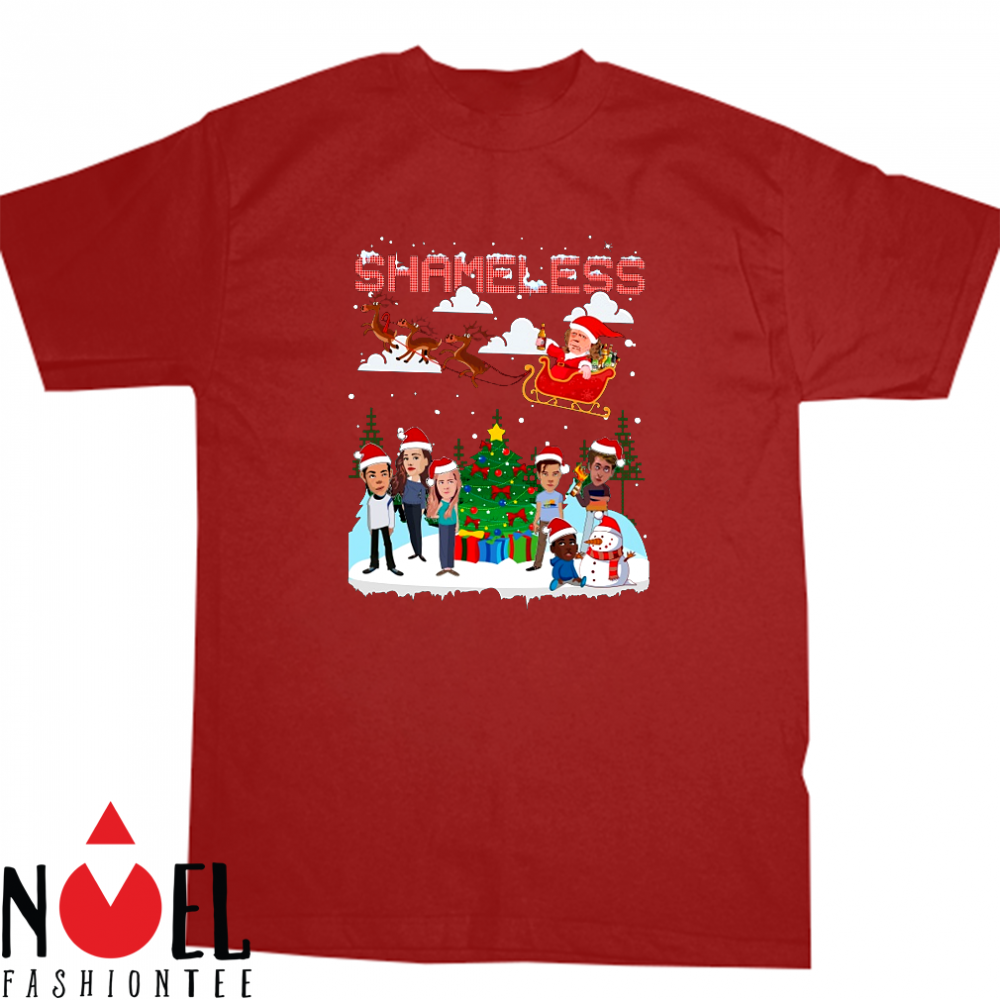 Shameless Christmas Frank and Liam Hemsworth chibi play with the snow shirt